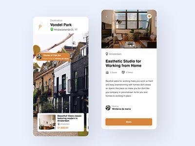 Real Estate for workspace concept destinatiom working remote workspace travel branding app ux ui airbnb