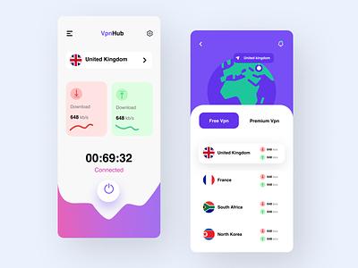 VPN App Concept app vpn design concept ui design ui kit vpn illustration design ux ui