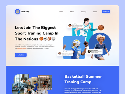 Landing Page Sport Summer Camp Vers 2 blue training camp nfl nba sport web web design landing page typography branding ux ui design