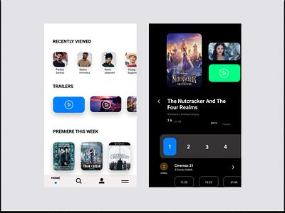 Booking Ticket Film startup app flat minimalist simple film movie branding vector design ux ui