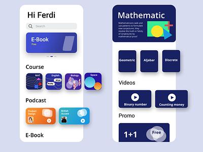 Geometric design for E learnings App e learning geometric design geometic icon flat illustration app ux design ui