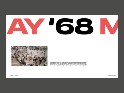 May 1968 – Website Concept swiss typographic typogaphy art ux ui mainpage design ux design ui design