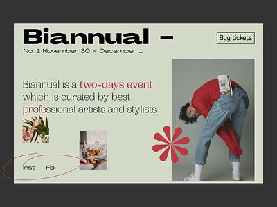 Biannual Festival Mainpage Concept festival typogaphy event branding event mainpage fashion design art ui design