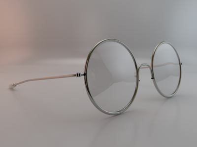 Glasses 3d glasses old framing studio light reflection 60s c4d render realistic