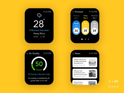 Weather forecast App for WatchOS | UI Design Concept user interface design user interaction figma design ui ux design weather forecast concept design interface design ui ux design ui design ui watch os
