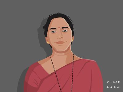 Happy Birthday Mother ! saree indian happy birthday mother flat design adobe illustrator graphic design design art vector illustration digital art