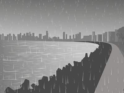 Marine Drive | Mumbai mumbai clouds rain flat design adobe photoshop adobe illustrator art design digital art graphic design vector illustration