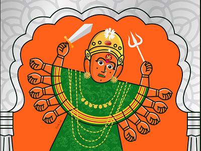 Saptashrungi   Devi festival goddess flat  design adobe photoshop vector adobe illustrator graphic design art design digital art illustration