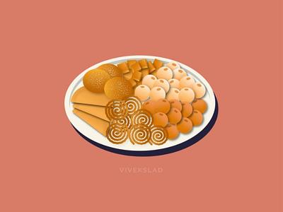 Diwali Faral ( snacks ) india festival diwali snacks food flat design graphics illustration design art vector