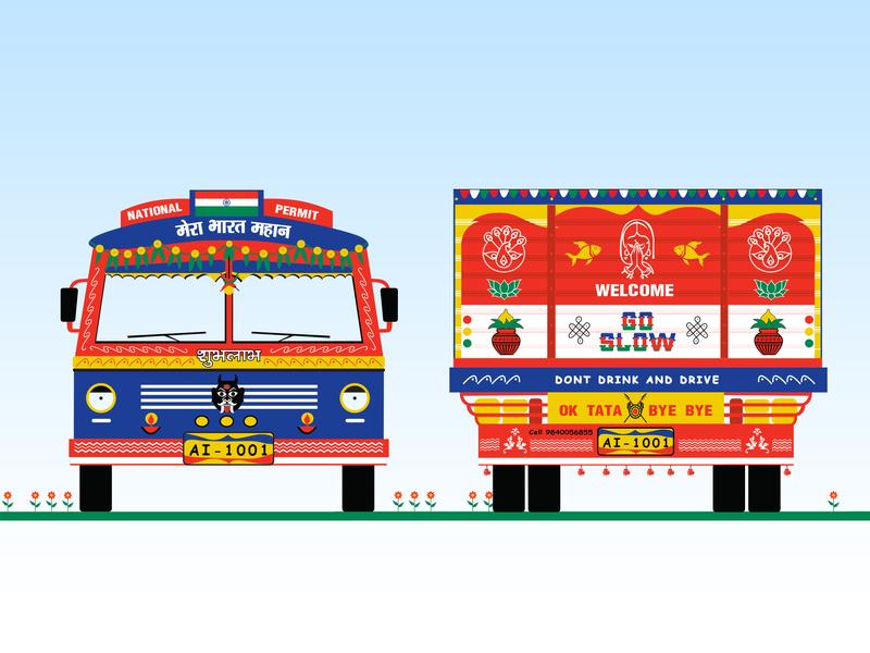 Indian Lorry design branding vector illustration 2d art