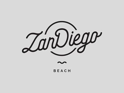 ZanDiego Beach - Logo design sunset logo hipster logo logodesign beach beachclub minimal vector black  white logo clean blackandwhite hipster design branding design branding