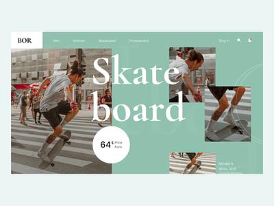 Ecommerce Web UI skateboard longboard coloful animation ecommerce web creative ui ux minimal design