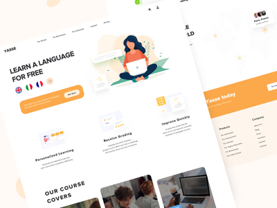 Study Web UI illustration typography website school language study web creative ui ux minimal design