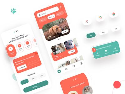 Pet Adoption Mobile UI beautiful coloful buy animal pets adoption mobile ui mobile app creative ui ux minimal design
