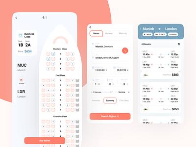 Flight App UI choose seat country adult flight tick buy coloful creative ui ux minimal design
