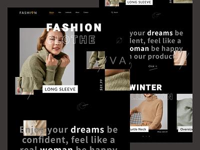 Fashion Web UI shop collection winter women shopping typography branding fashion buy web creative ux ui minimal design