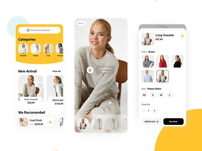 E-commerce Mob UI figmadesign figma buy sweeter clothe shopping shop e-comerce mobile creative ui ux minimal design