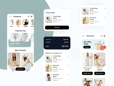 E-commerce Mob UI discount color mobile ui clothes offer mobile ecommerce shopping fashion buy coloful creative ux ui minimal design