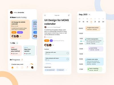 Task Management UI App user app ux calendar task management ui