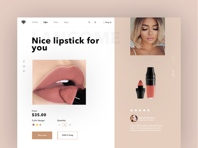 Lipstick Websait UI dribbble inteface creative photoshop fashion coloful lipstick bag buy beautiful typography logo shopping website web ux ui minimal design