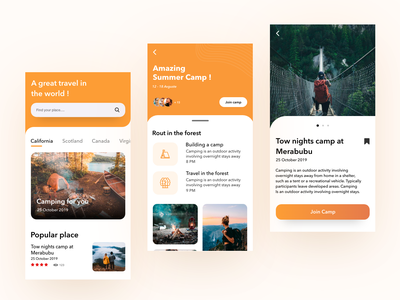 Camping Mobile Ui enjoy forest camping world mobile app mobile travel creative coloful beautiful ux ui minimal design