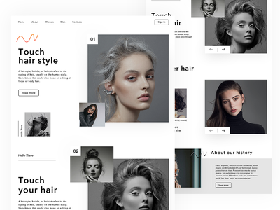 Hair Web UI style hair fashion creative coloful beautiful website web ui ux minimal design