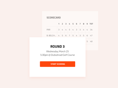 Spark Golf - Scorecard layout sports golf ios ux ui