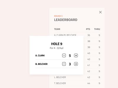 Live Leaderboard scoreboard sports golf ios ux ui