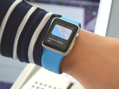 Apple Watch App in real life.  watch ui food tracking delivery apple watch