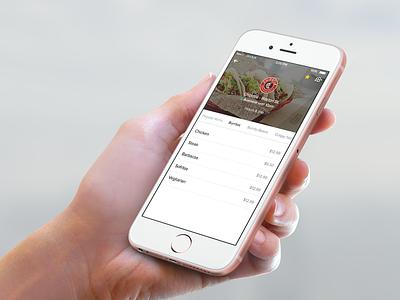 OrderUp Menu food app iphone6s chipotle ui ux ios