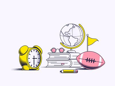 School time school time education football globe books clocks art texture vector illustration