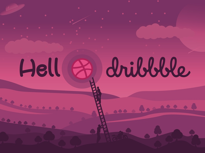 Hello Dribble design art background try first design animation vector design illustration hello world hello dribble
