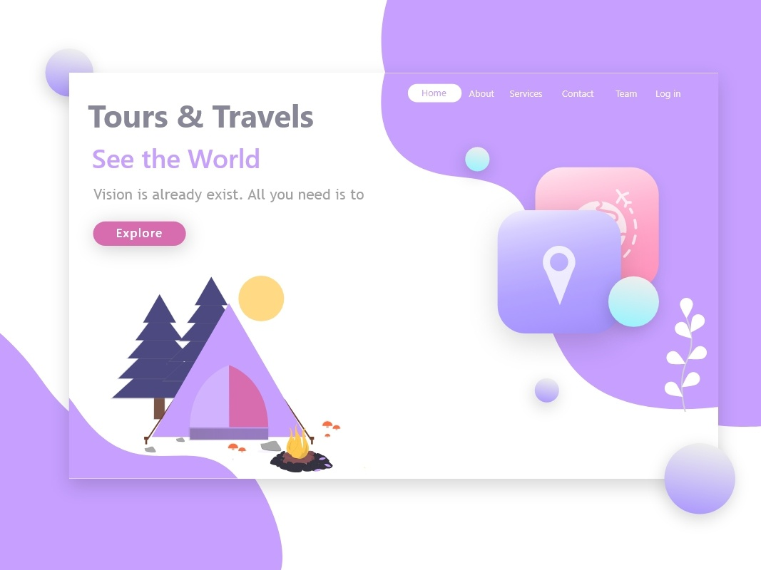 Inspired Tours and Travel landing page vector artwork home explore 2019 world inspired travel branding animation illustration try vector design background ui web