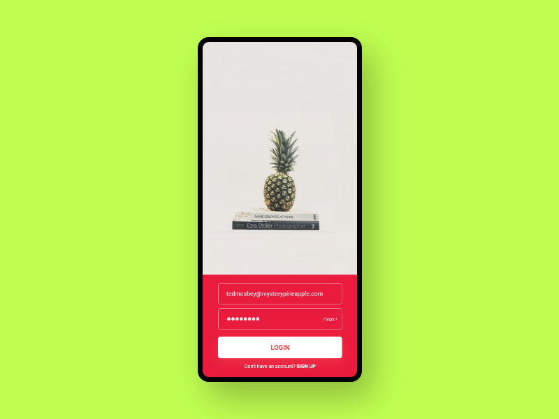 App Login Page pineapple ted mosbey himym how i met your mother design app uxdesign user experience dailyui ui  ux user interface uiux ui design uidesign daily 100 challenge ux ui