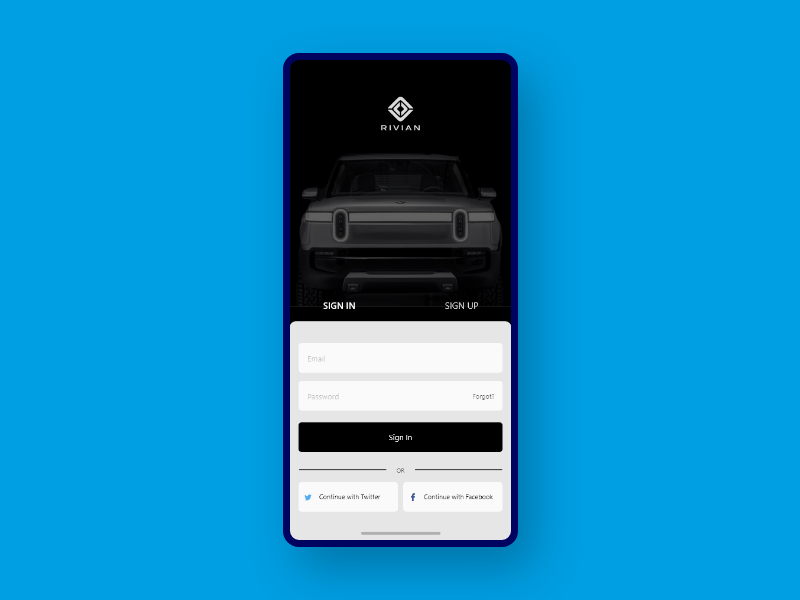 App Login Page Concept - Rivian rt1 rivian design app uxdesign user experience dailyui ui  ux user interface uiux ui design uidesign daily 100 challenge ux ui