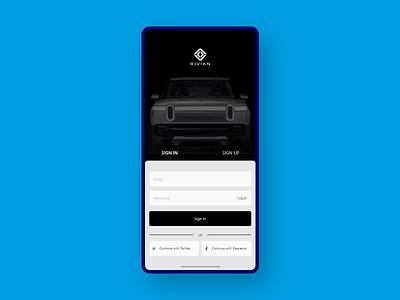 App Login Page Concept - Rivian rt1 rivian design app uxdesign user experience dailyui ui  ux user interface uiux ui design uidesign daily 100 challenge ux ui