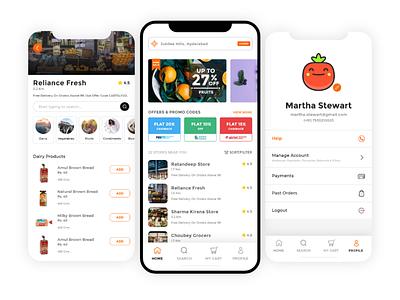Cartsly - Online Grocer ui  ux app user experience uxdesign user interface uiux ui design uidesign ux ui
