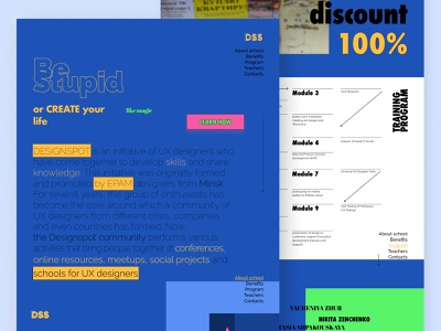 Landing page for DesignSpot School as it could be uxui school ux typography landing page web ui branding design