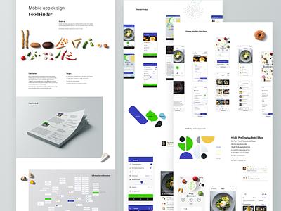 Mobile app design FoodFinder food app information architecture userflow user interface design mobile design mobile ui mobile app material design human interface web ux ui design