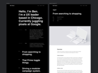 Exploration • Portfolio Redesign figma helvetica typography black website portfolio ux ui