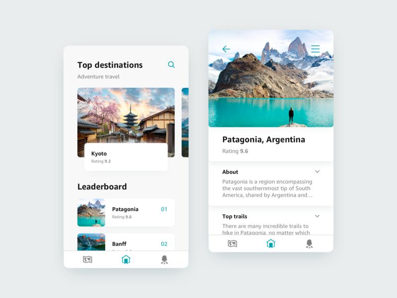 019 • Leaderboard concept round minimal kyoto patagonia destination japan argentina app ui mobile travel leaderboard 019 daily ui 019 daily ui