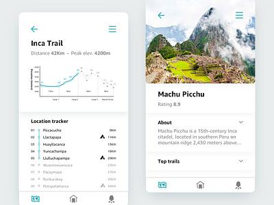 020 •Location Tracker app design dailyui concept clean simple minimalist minimal round mobile ui map inca peru machu picchu location tracker 020 daily ui 020 daily ui