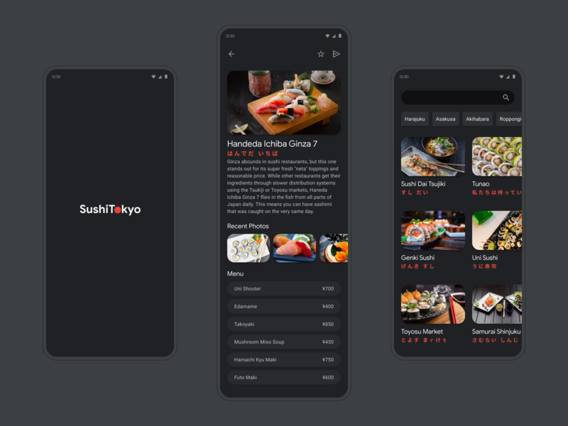 SushiTokyo App 01 figma minimal simple food japanese food concept dark mode black japan tokyo sushi dark clean ui mobile app