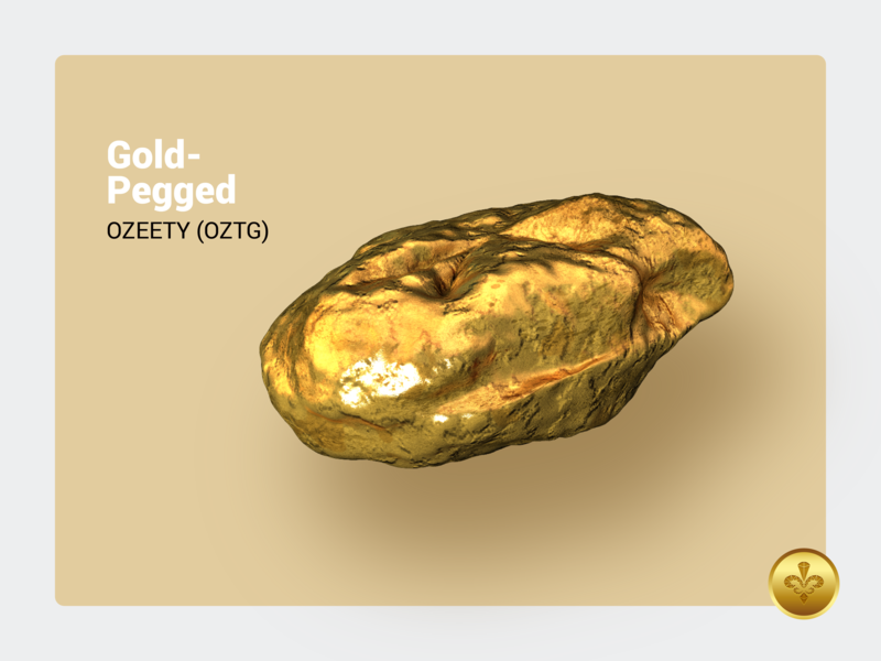 OZEETY (OZTG) crypto currency gold illustration 3d design blockchain