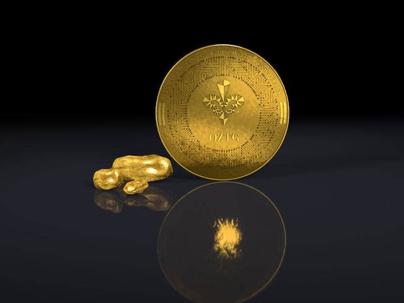 OZTG univers 3d illustration gold crypto currency design blockchain