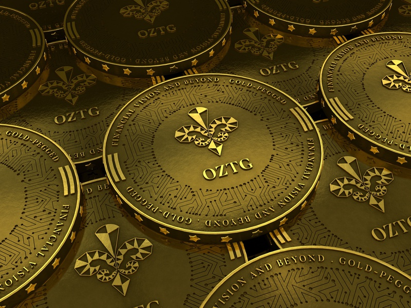 OZTG photoshop vector logo univers 3d illustration gold crypto currency design blockchain