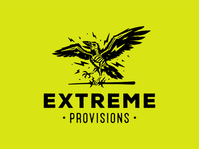 Extreme Provisions electric raven crow illustration brand typography logotype illustrator logo design branding