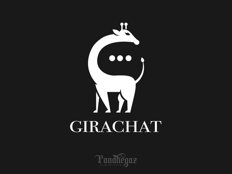 Girachat negative space logo pandhegaz illustration giraffe white concept technology abstract business web vector chat cute element design icon logo graphic animal symbol