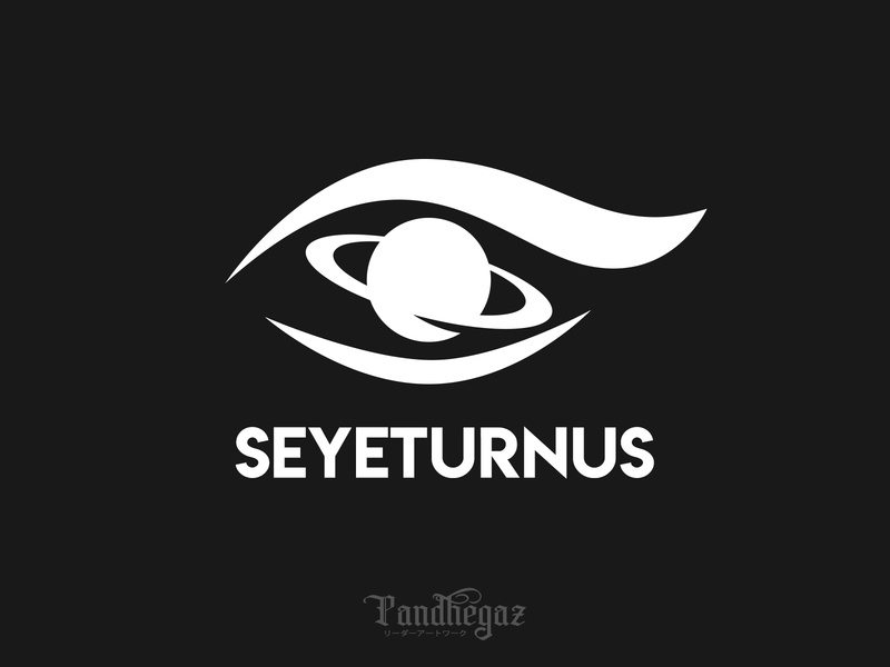 Seyeturnus negative space logo pandhegaz round galaxy object eye set eyes color graphic isolated background element symbol design space planet saturn vector illustration