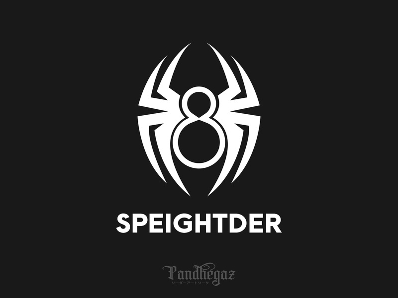 Speightder negative space logo pandhegaz scary creepy insect brown set wildlife cartoon design background halloween vector illustration macro nature isolated black animal spider